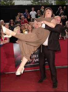Cheryl Fergison (Heather)  and Cliff Parisi  (Minty) arrive at the British Soap Awards