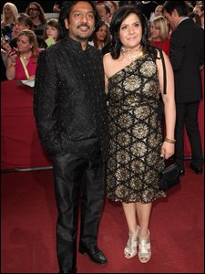 Nitin Ganatra and Nina Wadia at the British Soap Awards