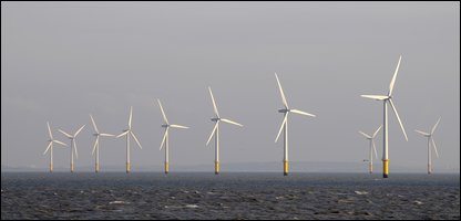Wind turbines off the coast of Liverpool