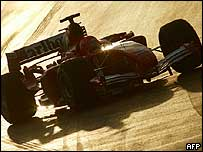 A Formula One car in action