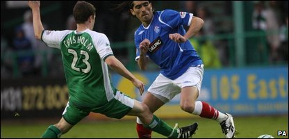 Rangers' Pedro Mendes (right) and Hibernian's Ross Chisholm battle for the ball