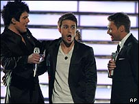 Adam Lambert, Kris Allen and Ryan Seacrest