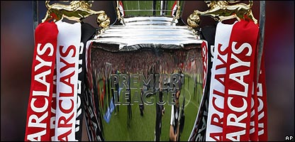 The Premier League trophy