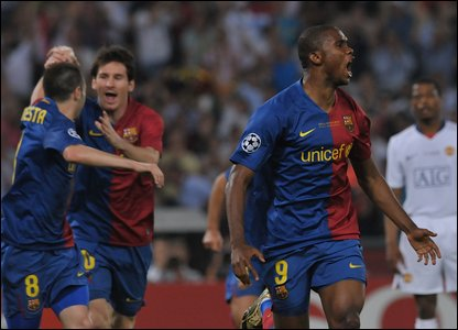 Barcelona's Samuel Eto'o celebrates scoring after just 10 minutes.