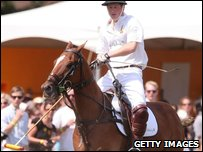 Prince Harry during the charity polo match