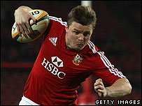 Brian O'Driscoll in action for the British Lions