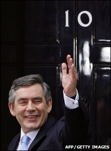 Gordon Brown on the day he moved into number 10 Downing Street
