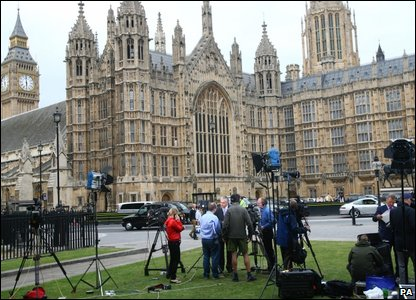 Media gathered outside the Houses of Parliament