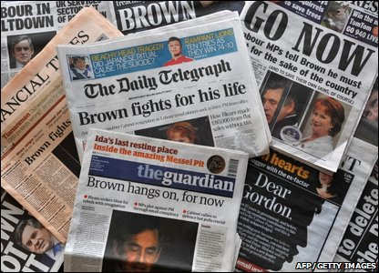 Newspapers with headlines calling for Gordon Brown to resign