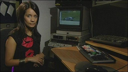 Sonali in an edit suite