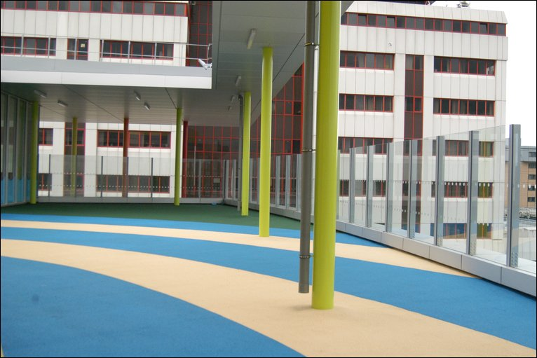 For patients include a special hospital school and outdoor play area