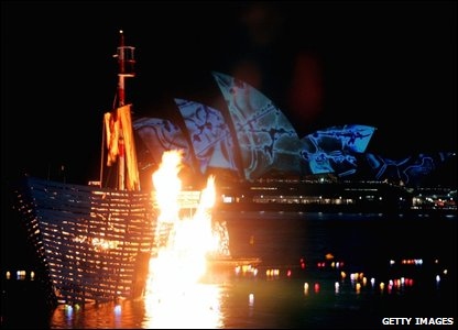Burning ship in Sydney Harbour