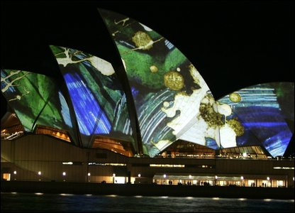 Opera House lit up