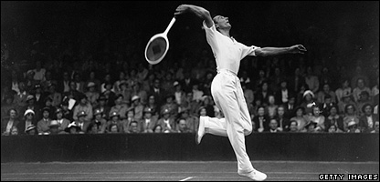 Fred Perry playing at Wimbledon in 1937