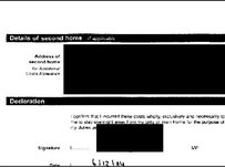 An expenses claim forms with details blacked out