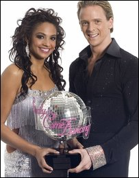 Alesha Dixon and dance partner Matthew Cutler after winning the Strictly Come Dancing  trophy in 2007