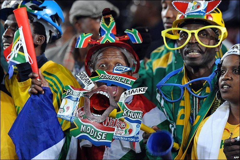 South africa football fan at the egypt v italy fifa confederations cup