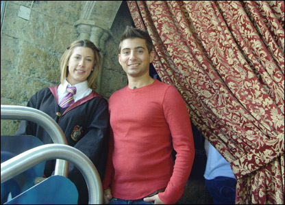 Ricky and an actor in Hogwarts cotume