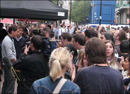 James and Oliver Phelps chatting to fans in Leicester Square in London