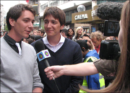 James and Oliver Phelps chatting to Newsround