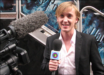Tom Felton, who plays Draco Malfoy, chatting to Newsround