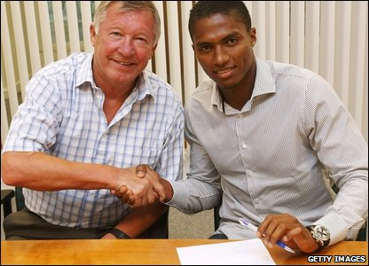 Antonio Valencia with Manchester United's manager Sir Alex Ferguson