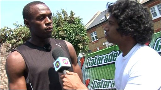Gavin interviewing Usain Bolt for Newsround