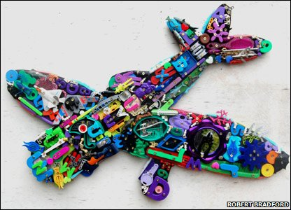 A plane made from old plastic toys. Pic from Robert Bradford