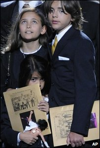 Michael Jackson's children appeared on stage with the Jackson family for the end of the memorial service