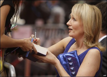J K Rowling signing autographs for fans at the world premiere of Harry Potter and the Half-Blood Prince