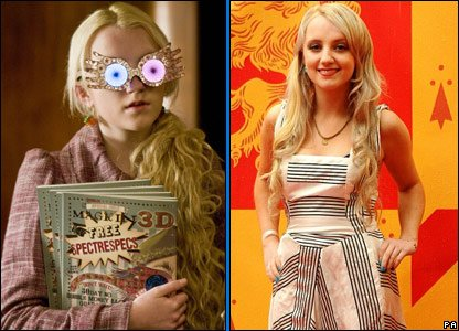 Evanna Lynch in Harry Potter and the Half-Blood Prince and on the red carpet at the world premiere of the film, in London