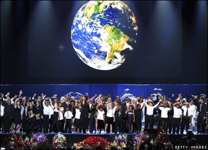 Michael Jackson's family and friends gathered on stage for the finale of his memorial service
