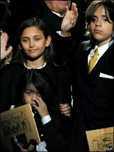 Michael Jackson's daughter Paris and two sons Prince Michael Jackson II (front) and Prince Michael Jackson I (right) at the end of the memorial service for their dad in Los Angeles