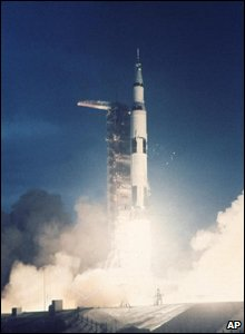 Apollo 11 mission blasts off.