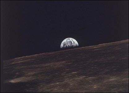 Earthrise on the Moon