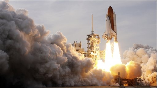 Space shuttle Endeavour blasting off from the Kennedy Space Centre in Florida