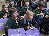 Scouts protest in Parliament