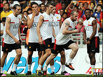 Manchester United players train in Kuala Lumpur
