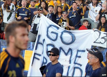 LA Galaxy fans shouting and jeering at David Beckham