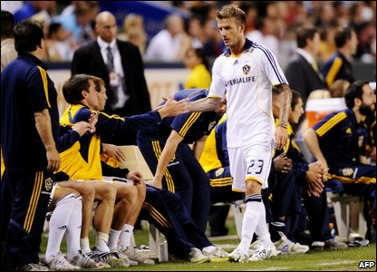 David Beckham leaves the game in the second half