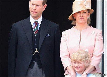 Lady Louise Mountbatten-Windsor with her parents the Earl and Countess of Wessex.