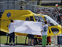 A helicopter and Felipe Massa