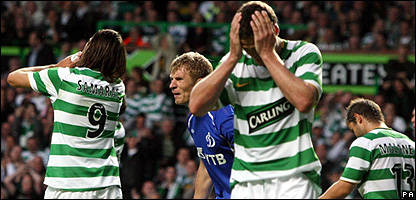 Celtic players react to a missed chance