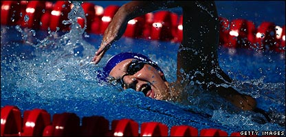 Great Britain's Rebecca Adlington competes during the women's 4x200m freestyle