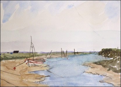 One of Kieron's watercolour paintings, of a boat by a river