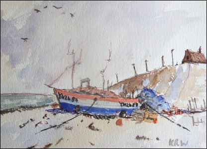 One of Kieron's watercolour paintings of a boat