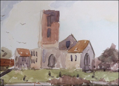 One of Kieron's watercolour paintings of a church