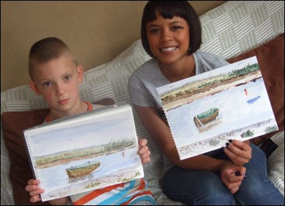 Kieron and Leah with their watercolours