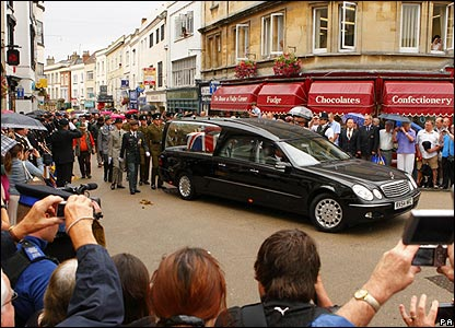 People watch Harry Patch's coffin drive past