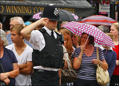 A policeman in Wells in Somerset